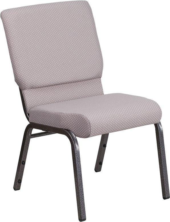 Flash Furniture FD-CH02185-SV-GYDOT-GG HERCULES Series 18.5''W Stacking Church Chair in Gray Dot Fabric - Silver Vein Frame