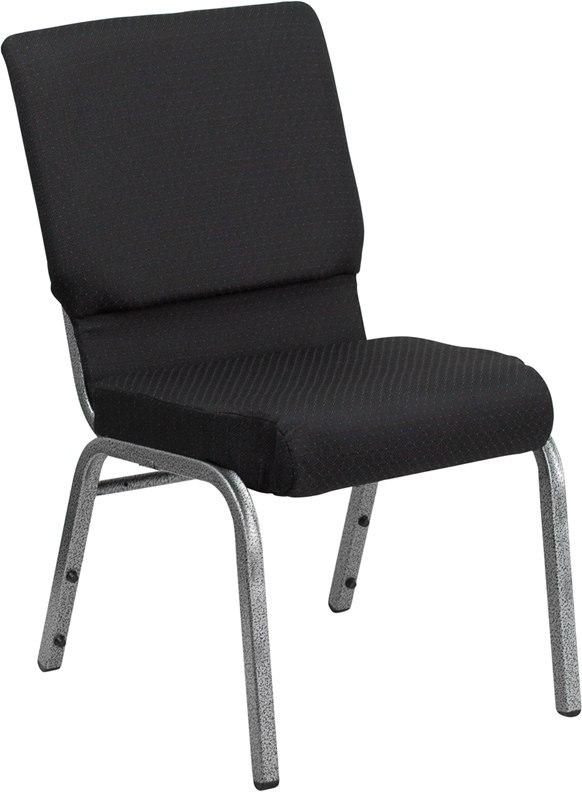 Flash Furniture FD-CH02185-SV-JP02-GG HERCULES Series 18.5''W Stacking Church Chair in Black Patterned Fabric - Silver Vein Frame