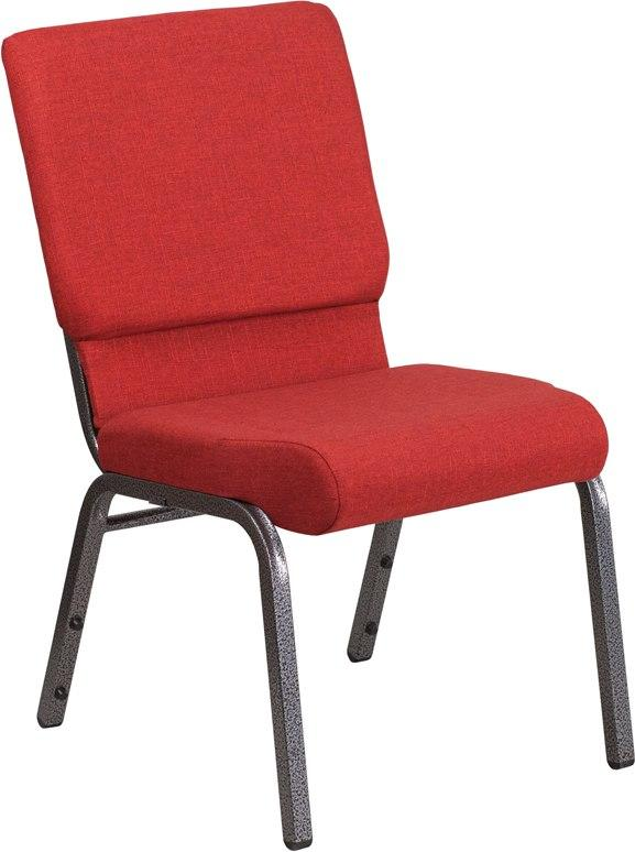 Flash Furniture FD-CH02185-SV-RED-GG HERCULES Series 18.5''W Stacking Church Chair in Red Fabric - Silver Vein Frame