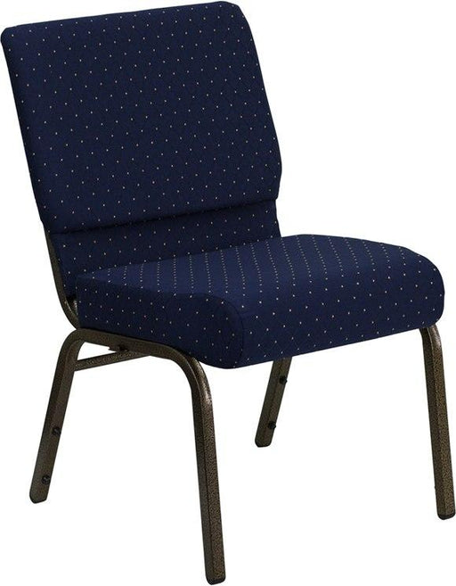 Flash Furniture FD-CH0221-4-GV-S0810-GG HERCULES Series 21''W Stacking Church Chair in Navy Blue Dot Patterned Fabric - Gold Vein Frame