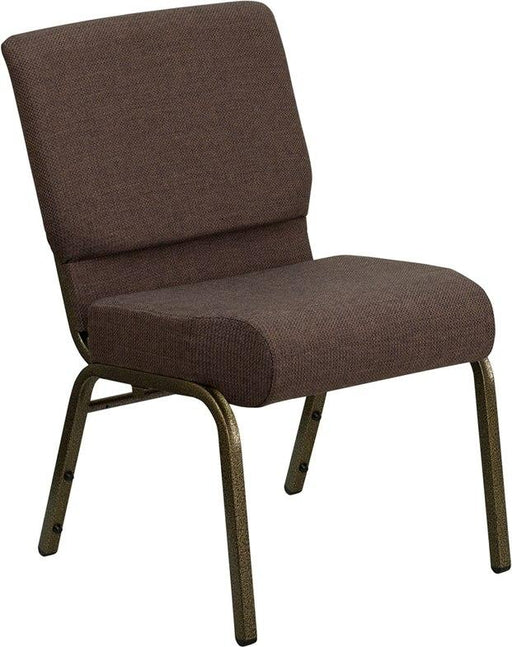 Flash Furniture FD-CH0221-4-GV-S0819-GG HERCULES Series 21''W Stacking Church Chair in Brown Fabric - Gold Vein Frame