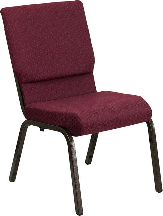 Flash Furniture XU-CH-60096-BYXY56-GG HERCULES Series 18.5''W Stacking Church Chair in Burgundy Patterned Fabric - Gold Vein Frame