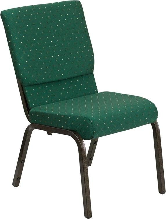 Flash Furniture XU-CH-60096-GN-GG HERCULES Series 18.5''W Stacking Church Chair in Green Patterned Fabric - Gold Vein Frame