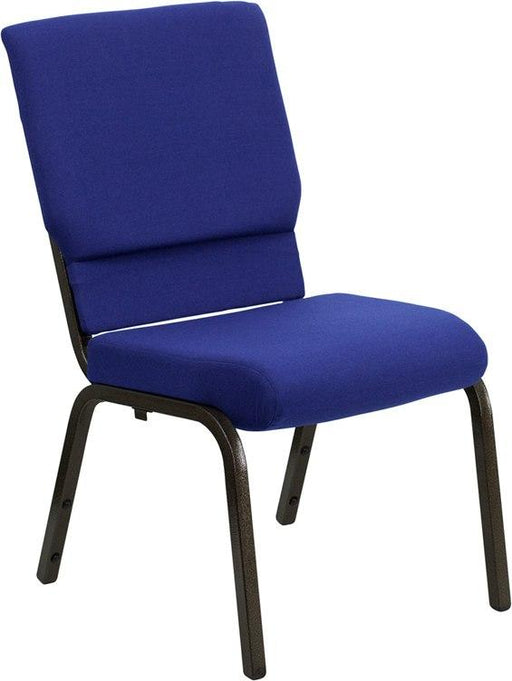Flash Furniture XU-CH-60096-NVY-GG HERCULES Series 18.5''W Stacking Church Chair in Navy Blue Fabric - Gold Vein Frame