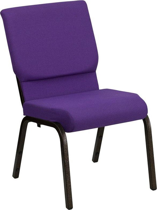 Flash Furniture XU-CH-60096-PU-GG HERCULES Series 18.5''W Stacking Church Chair in Purple Fabric - Gold Vein Frame
