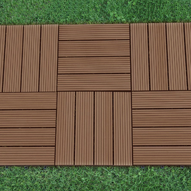 Abba Patio 12 x 12 Inch Outdoor Four Slat Composite Interlocking Decking Tile