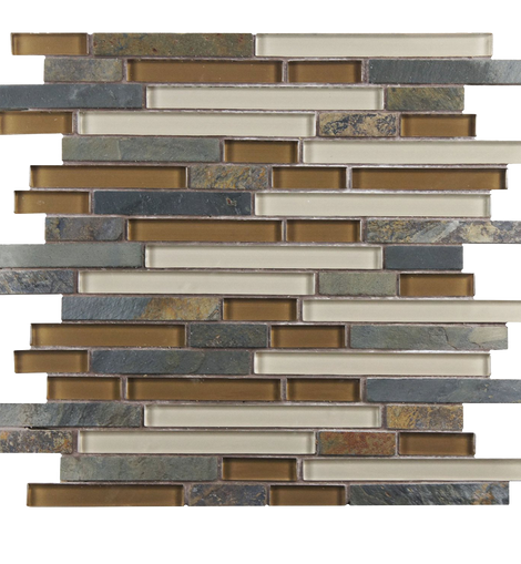Sierra Piano Brixton 11 x 11 Inch Glass and Stone Mosaic Wall Tile