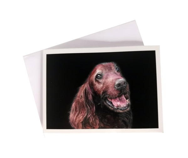 'Cézar, the Irish Setter' Greetings Card