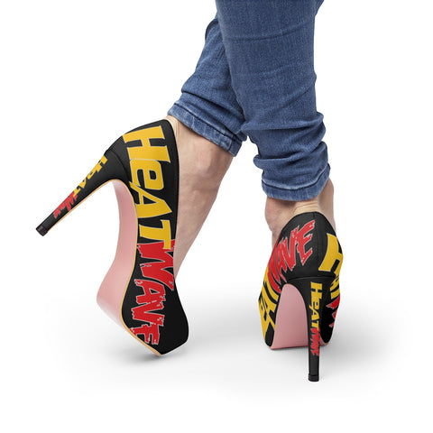 Black Gold & Red Women's Platform Heels
