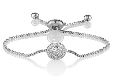 Silver Celestial Disc Bracelet with Cubic Zirconia