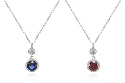 Halo Silver Drop Pendant Necklace with Swarovski Crystals