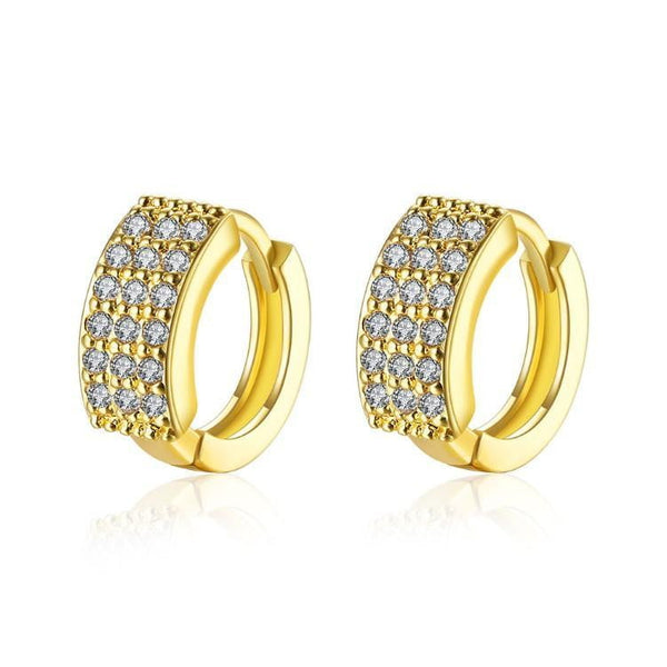 18K Gold Plated Huggies Earring-Triple Row Pave' - 1-Stop-Offers