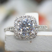 2.00 CT Cushion-Cut Queen White Swarovski Elements Ring - 1-Stop Offers