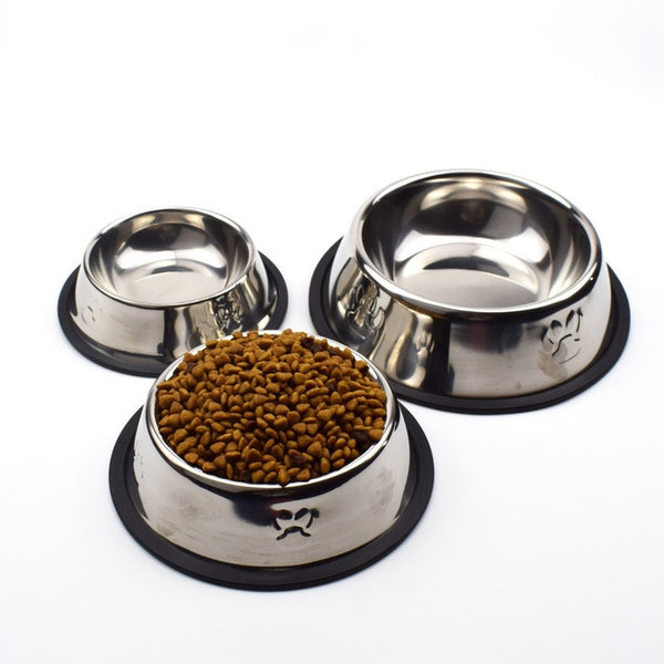 dog pet footprint stainless steel food bowl - 1-Stop-Offers