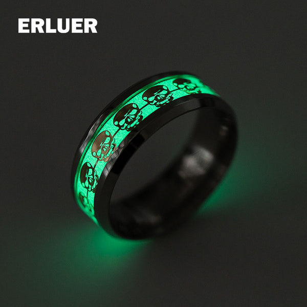 Skull ring Stainless Steel Luminous Rings Glow - 1-Stop Offers