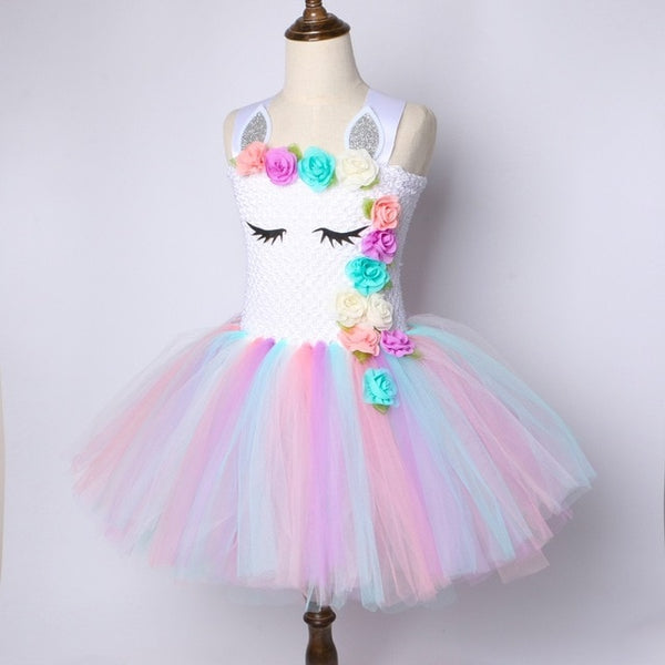 Flower Girls Unicorn Tutu Dress Pastel Rainbow Princess Girls - 1-Stop Offers