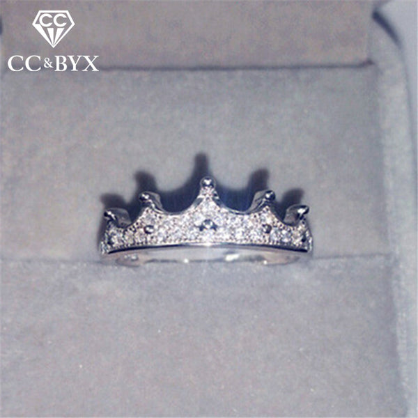 Crown Silver Rings For Women Baroque Gothic Cubic - 1-Stop-Offers