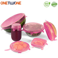 6 Pcs Silicone Stretch Lids Reusable Airtight Food Wrap - 1-Stop Offers