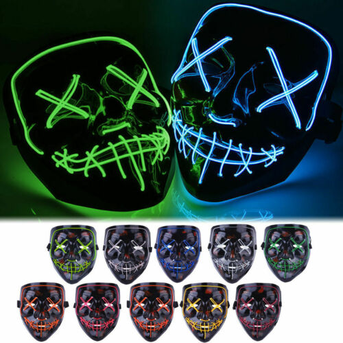 Halloween LED Glow Full Mask EL Wire Light Up The Purge Movie Rave Dance Party  | eBay - 1-Stop-Offers