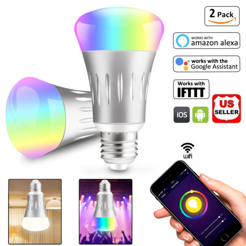 2Pcs Wifi Smart Scene Light Bulb LED Dimmable Work With Google Home Amazon Alexa 605621884741 | eBay - 1-Stop-Offers