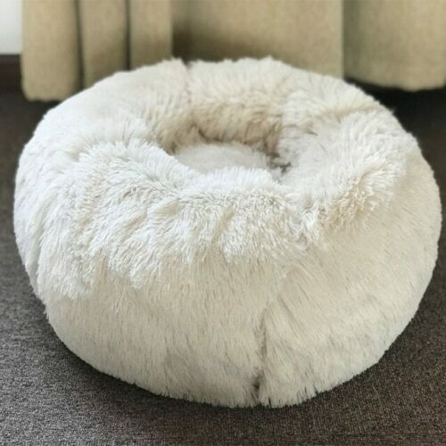Warm Fleece Dog Bed Round Pet Lounger Cushion For Small Medium Large Dogs Cat Wi  | eBay - 1-Stop Offers