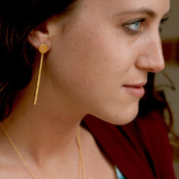 Brass Circle Stick Earrings
