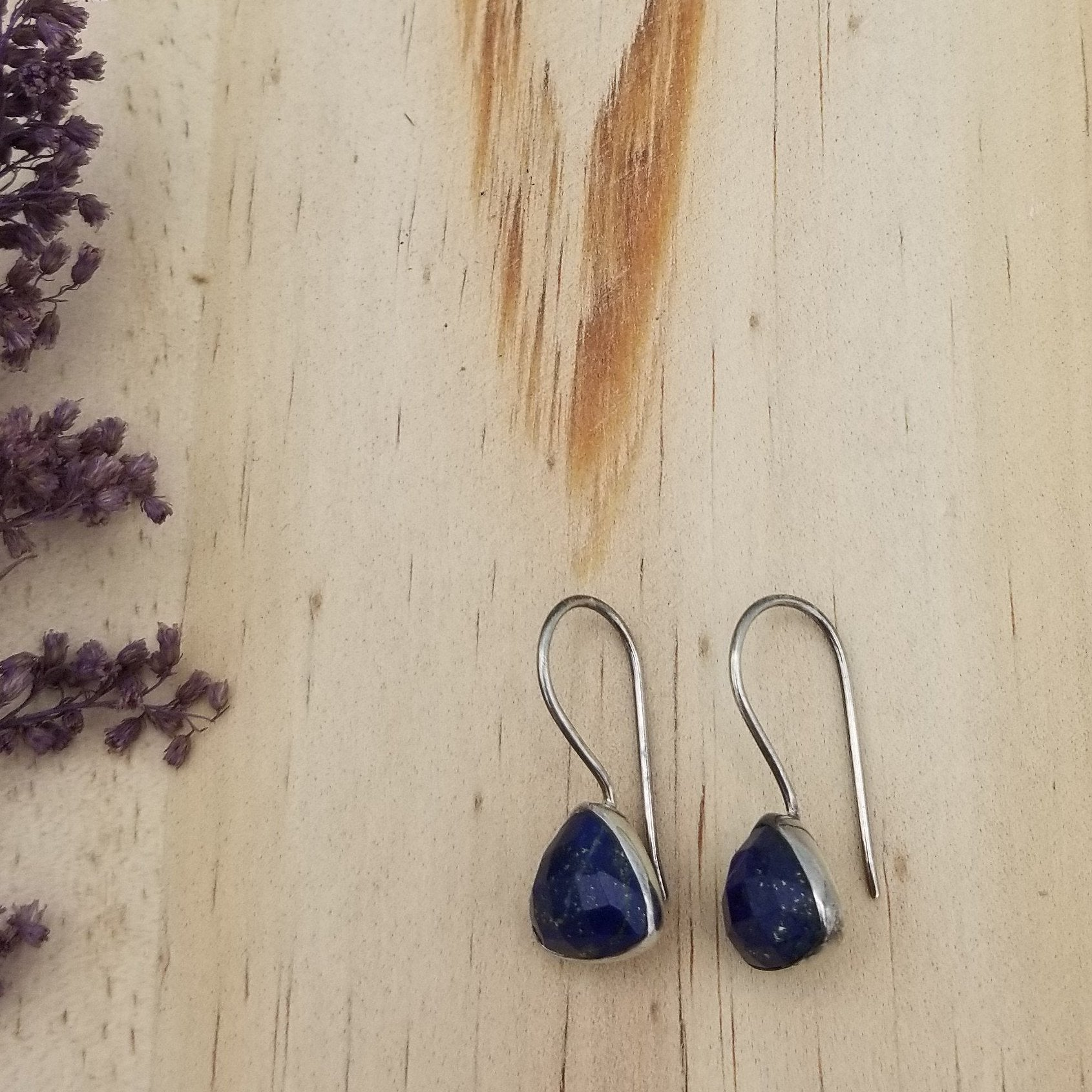 Lapis Lazuli Triangle Earrings