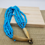 Load image into Gallery viewer, Bone Bead Necklace with Horn Clasp