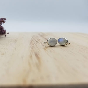 Sterling and Oval Stone Studs