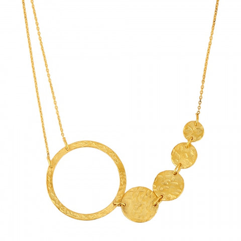 Necklace:  Graduated Discs - gold plated