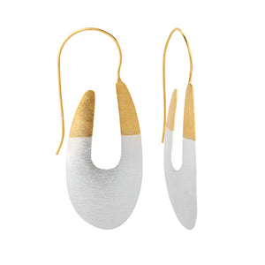 Brass Two Tone Curve Earrings