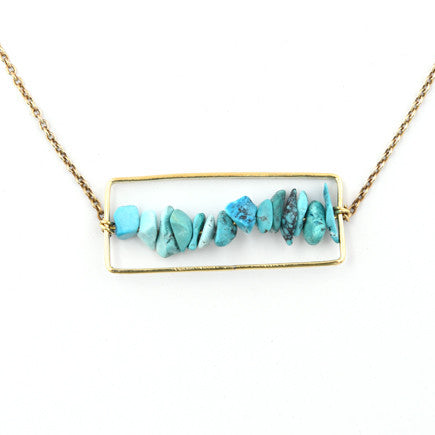Necklace: Brass and Turquoise Pebble