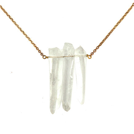 Necklace: Triple Quartz Crystal
