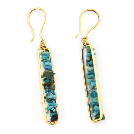 Earrings: Brass and Turquoise Pebble