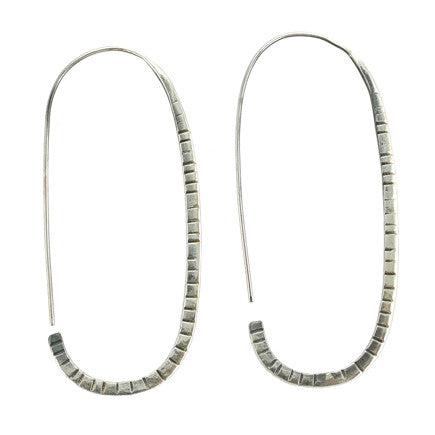 Earrings: Sterling Silver Textured Hoops