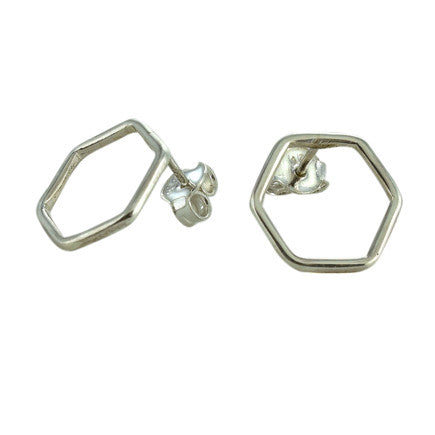 Earrings: Sterling Silver Hexagon