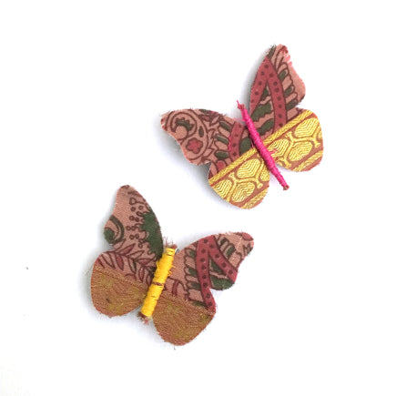Recycled Vintage Sari Butterfly Pin
