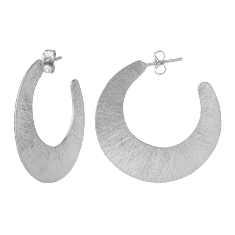 Silver Brushed Crescent Earrings