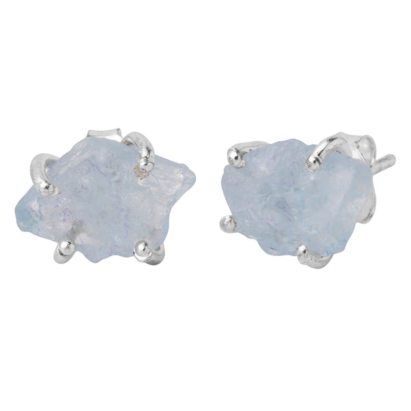 Raw Aquamarine Sterling Silver Studs
