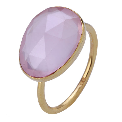 Ring: Gold Plated Sterling and Rose Quartz