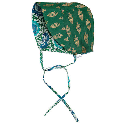 Reversible Baby Bonnet - floral & green