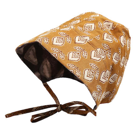 Taupe and Harvest Gold Baby Bonnet 1
