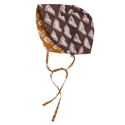 Reversible Baby Bonnet - gold & taupe