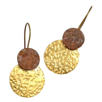 Earrings: Lunar Eclipse - copper & gold-plated