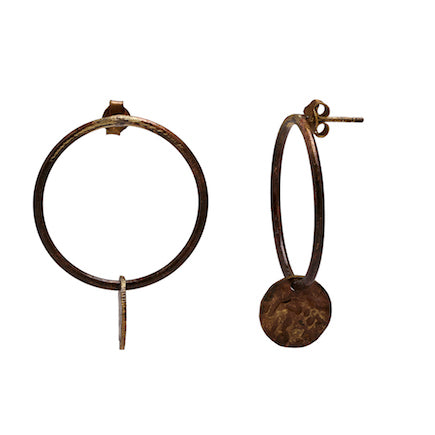 Earrings:  Over the Moon - raw brass