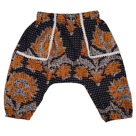 Baby Harem Pants - navy and mustard kantha print