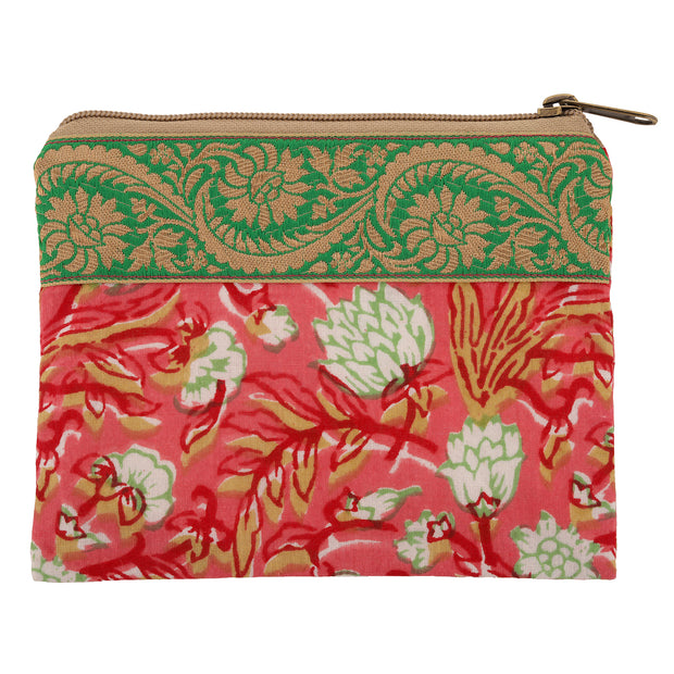 Pink Floral & Green Accessory Bag 1