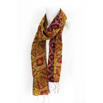 Vintage Kantha Saree Scarf (Warm Sunsets)