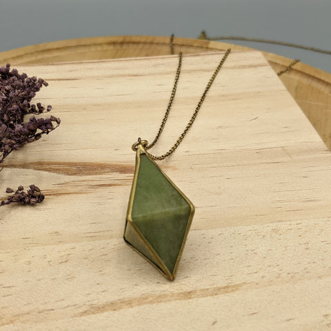 Double Pyramid Vessonite Necklace