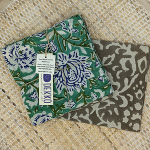 Blue Flower Block Print Napkins